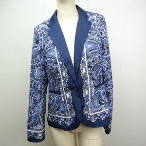 Apt 9 Womens Patterned Blazer Jacket Blue Paisley